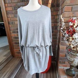 Eien Long Sleeve Cutout Back Drawstring Dress